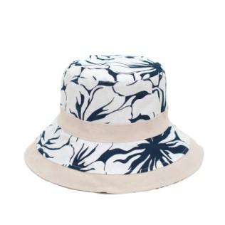 Miękki, lniany kapelusz Motywy Roślinne